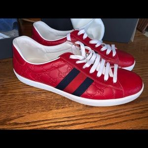 Authentic GUCCI Men Red Signature Ace Sneakers